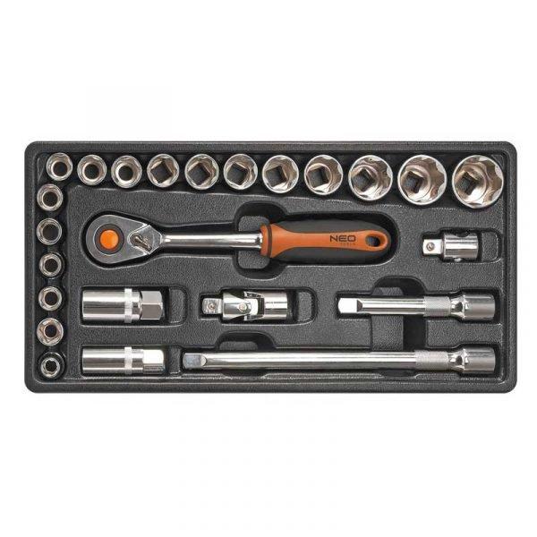 Set nasadnih ključeva s račnom 12 24 kom NEO 84-270