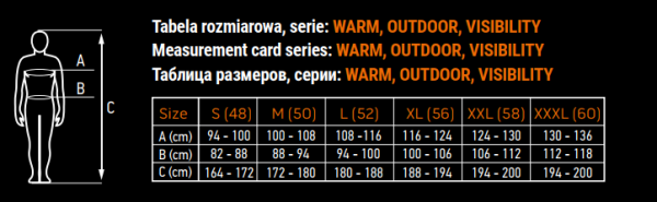 tablica veličina warm, outdoor, visibility