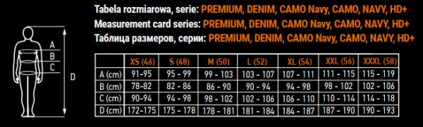 tablica veličina premium, denim, hd, camo